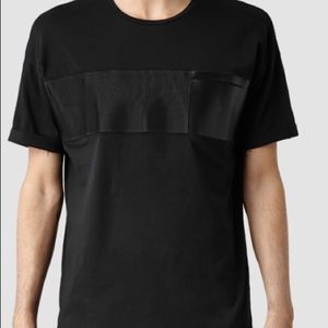 All Saints Defer crew tshirt with vegan leather
